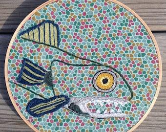 "7.5"" Handmade Hoop Embroidery of Feisty Fish"