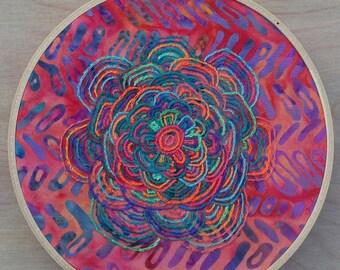 """6.5"""" Handmade Hoop Embroidery of Rainbow Zen"""