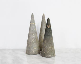 Set of 3 ring holders, Ring display, Ring cone, Jewelry display,  Engagement Gift, Gift for her, Concrete decor, Jewelry organizer, Nordic