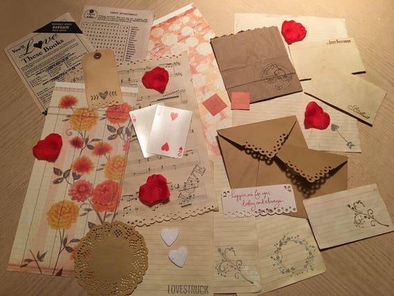 Journal Scrapbook Mixed Media Card Making 29 Pieces Junk Journal LoveHearts Accessory Kit VALENTINE Lovestruck Ephemera