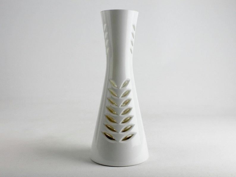 Groß Weiß Eingefasst Und Facettierten Vintage Glas Vase Mid Etsy