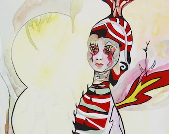 Lollipop Pop Surrealism Art Print LIMITED EDITION signed and numbered by Claudia Arcia. Red white black magical spiritual fire doll wings