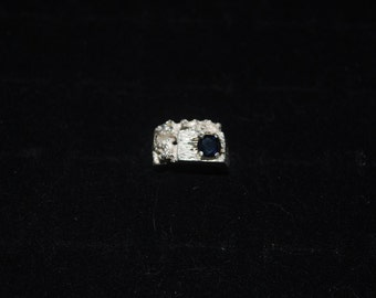 Sterling silver with blue sapphire ring size 8.5