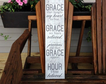 Twas Grace That Taught My Heart To Fear Sign - Amazing Grace - Religious - Christian - Inspirational - Motivational - Encouragement