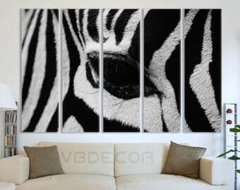 Zebra Split Canvas Zebra Print Zebra Split Wall Art Zebra Zebra Art Print Zebra Home Decor Zebra Office Wall Zebra