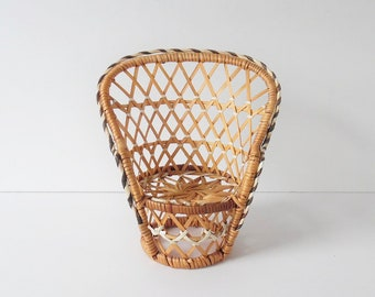 Vintage Rattan Chair Vintage Woven Chair Small Woven Chair Planter Vintage  Wicker Chair Vintage Plant Stand