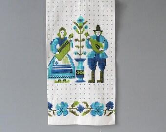 Mid Century Kitchen Towel Mid century tea towel Linen towel Vintage kitchen towel Vintage tea towel linen tea towel green blue tea towel