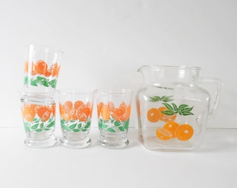 Mid Century Glasses Set of 4 with Pitcher Vintage barware Vintage drinkware Vintage juice pitcher Vintage orange glasses vintage libbey