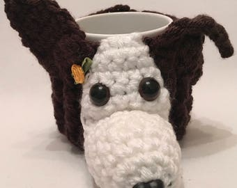 DOG hand crochet mug cosy with mug