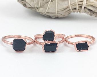 Black Tourmaline Rings | Rough Black Tourmaline | Raw Black Tourmaline Rings | Electroform Rings | Crystal Rings | Stone Ring | Small