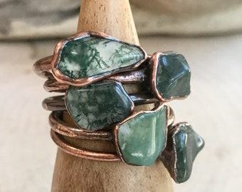 Moss Agate Ring   Moss Agate   Crystal Ring   Green Ring   Stackable Ring   Boho Ring   Stone Ring
