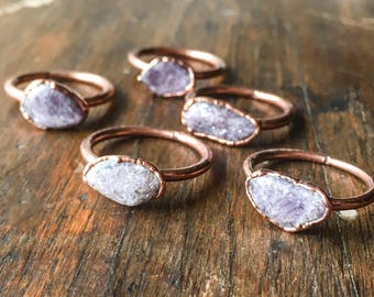Lepidolite Ring | Stone Ring | Electroformed Jewelry | Lilac Ring | Electroform Ring | Lepidolite & Copper Ring | Crystal Ring
