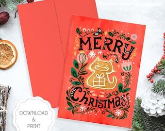 Printable Cat Gingerbread Christmas Card, Cat Christmas Card, Gingerbread Christmas Card, Christmas Greetings Card Digital Download