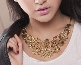 Gold Statement Necklace, Gold Choker Necklace, Gold Vintage Necklace, Gold Metal Necklace, Gold Antique Necklace, Bib Necklace