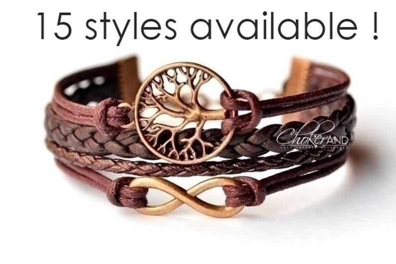 infinity armband levensboom armband leren armband dames | etsy