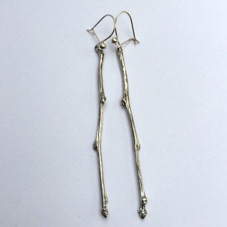 Sterling silver twig drop earringsSilver hawthorn earringssilver twighawthornsilver drop earringssilver twig earrings