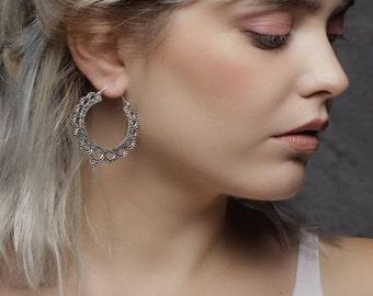 Lotus Silver tone hoops earrings,  tribal earrings, gypsy earrings, indian earrings, silver jewelry, silver hoops