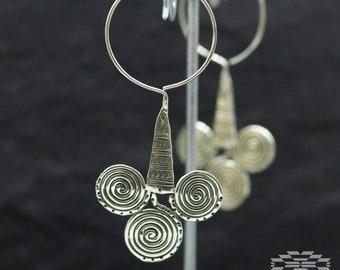 sterling silver earrings, tribal earrings, indian earrrings, silver earrings, boho earrings, earrings ethnic