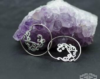 sterling silver spiral, tribal earrings, indian earrrings, silver earrings, boho earrings, earrings ethnic