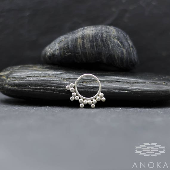 Nakarali Septum Ring Tribal Silver 18g 1mm 16g 1 2mm Etsy