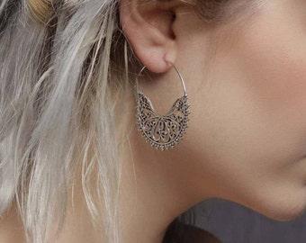 Silver earrings , tribal earrings, gypsy earrings, indian earrings, silver jewelry, silver hoops