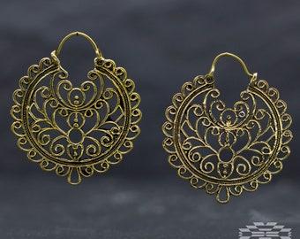 Brass hoop Earrings, tribal earrings, indian earrings, tribal jewelry