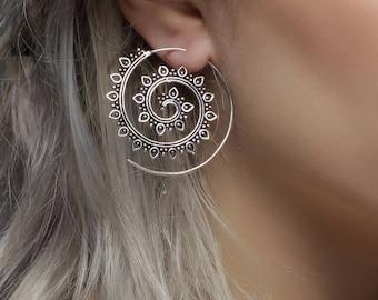 Lotus spiral, tribal earrings, indian earrrings, silver earrings, boho earrings, earrings ethnic