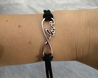 Love infinity bracelet with black leather cord