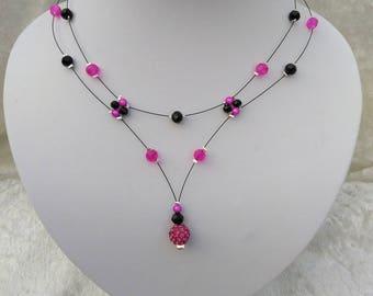 Necklace bride fuchsia and black