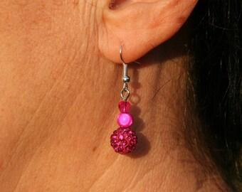 Fuchsia with Rhinestone Pearl Earrings