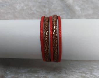 Brown and Red Cuff Bracelet