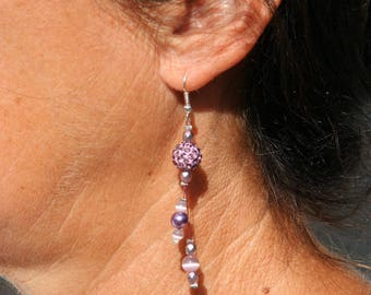 Purple earrings with glass pearls and rhinestones