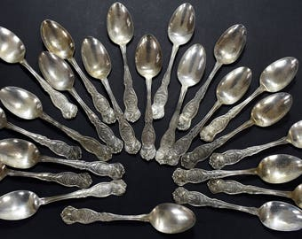 Applied For 1910 1915 Eagle Souvenir Spoons   22 State Spoons Instant  Antique Tea Spoon Collection