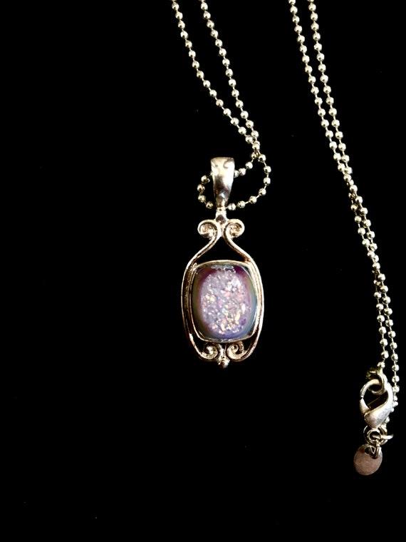 Purple quartz Druzy pendant necklace by Sajen Vermont - Boho Sparkly Purple Blue Green Quartz Stone Pendant Necklace