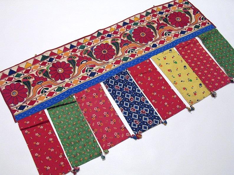 NH11188 42 x 22 Vintage Kutch Tribal Embroidery Valance Handmade Indian Decorative Toran Window Door Pelmet Topper Wall Tapestry