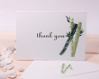 hand painted thank you cards, Bamboo, good luck set of four with matching envelopes