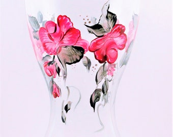 hand painted pink roses  hourglass vase