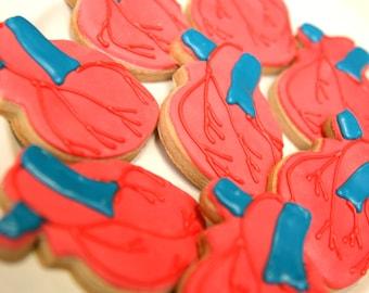 "1 Dozen Decorative 4"" Shortbread Anatomical Heart Shape Cookies"