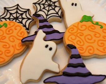 """1 Dozen Decoartive 3"""" - 4"""" Shortbread Halloween Cookies"""