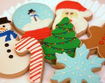 """1 Dozen Decoartive 4"""" & 5"""" Shortbread Holiday Cookies"""