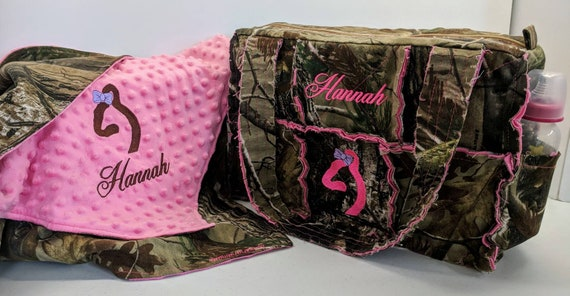 Realtree Pink Camo Diaper Bag And Minky Blanket
