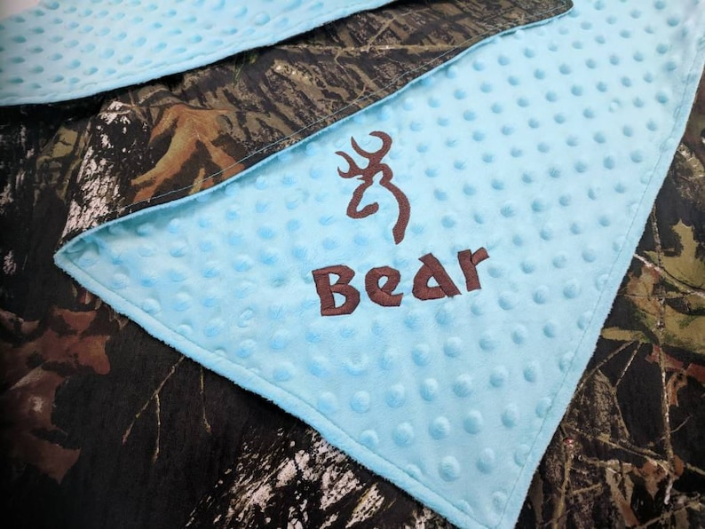 teal camo baby blanket camo baby blanket Mossy Oak teal camo baby blanket minky baby blanket personalized with name and design
