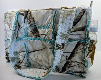Winter RealTree teal camo diaper bag, 15 wide x 10 tall x 5 deep, teal camo diaper bag, personalized camo diaper bag, camo diaper bag