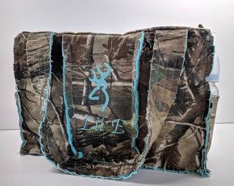 RealTree teal camo diaper bag, 15 wide x 10 tall x 5 deep, teal camo diaper bag, personalized camo diaper bag, camo diaper bag