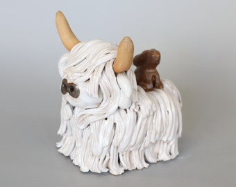 Handmade Ceramic Highland Cow with Brown Rabbit