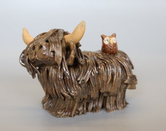 Handmade Ceramic Highland Cow with Brown Owl