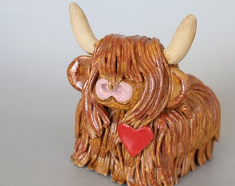 Handmade Ceramic Highland Cow with Heart