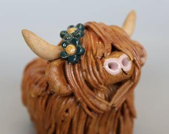 Handmade Ceramic Highland Cow with flowers