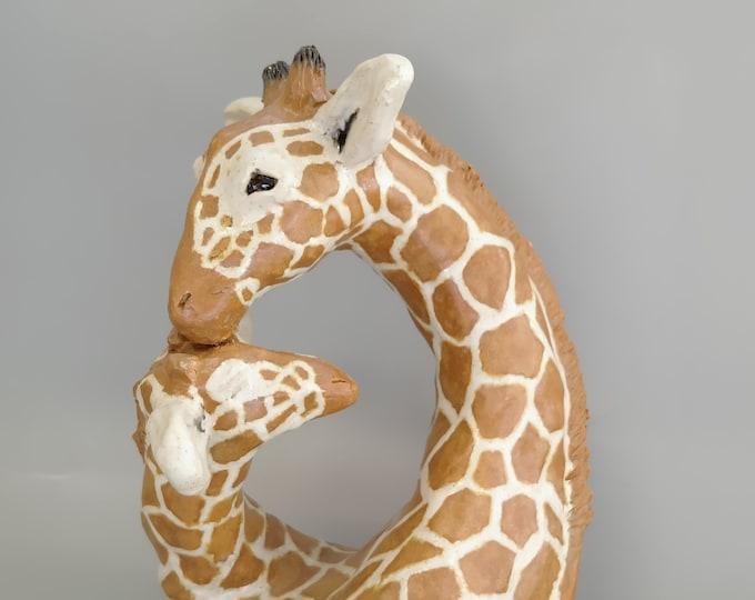 Giraffe Mother and Calf Sculpture