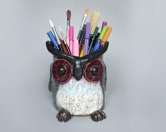Handmade Ceramic Owl Plant Pot / Pencil Pot